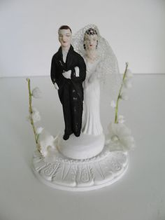 Vintage 1948 Chalkware WEDDING CAKE TOPPER Bride Groom Lily of the Valley