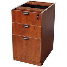 Boss Office Products Executive Deluxe Desk Pedestal 3-Drawer File, Red