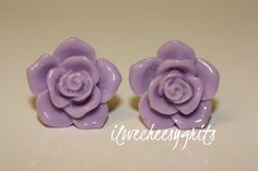 TAFFY LAVENDER ROSE Flower Earring Flower Girl by ilovecheesygrits, $6.95