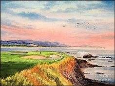 HHD: art inspiration.  Golf Canvas Print featuring the painting Pebble Beach Golf Course Hole 7 by Bill Holkham