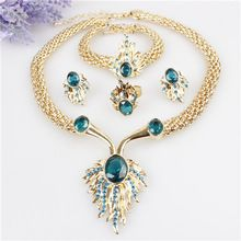 Hot Sale Flames Design 18K Gold Plated Austrian Crystal Necklace Bracelet Ring Earrings Jewelry Set For Women