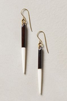 Wooden White Spear Darklight Drop Earrings #4112337196002 @ Anthropologie $20 LOVE