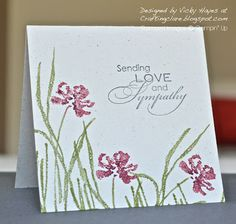 Stampin Up ideas and supplies from Vicky at Crafting Clares Paper Moments: Three minute Love and Sympathy