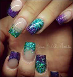 blue teal glitter faded nails