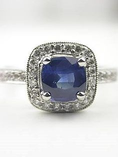 Cushion Cut Blue Sapphire Engagement Ring, RG-2917m  This ring is absolutely perfect to me!!! Someone tell Ryan lol
