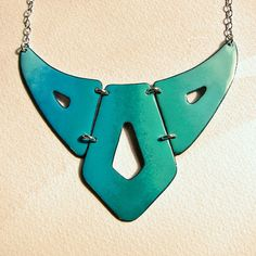 Ombre turquoise bib necklace, statement jewelry, enamel jewelry, geometric breastplate, mint aqua