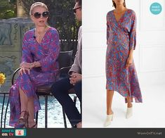 Kelly's blue and red printed wrap dress on Live with Kelly and Ryan. Outfit Details: https://wornontv.net/90861/ #LivewithKellyandRyan