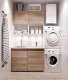 Awesome Small Laundry Room Decor Ideas For Your House 02 Modern Laundry Rooms, Laundry Room Layouts, Laundry Room Cabinets, Farmhouse Laundry Room, Laundry Room Organization, Laundry Storage, Organization Ideas, Storage Shelves, Basement Laundry