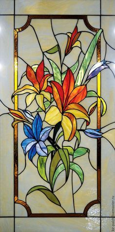 Flo2 Stained Glass Quilt, Stained Glass Flowers, Faux Stained Glass, Stained Glass Designs, Stained Glass Panels, Stained Glass Projects, Stained Glass Patterns, Leaded Glass, Mosaic Glass