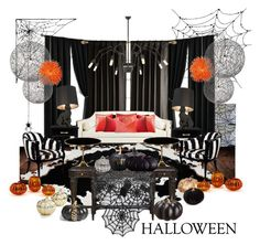 """Halloween decor"" by slavulienka ❤ liked on Polyvore featuring interior, interiors, interior design, home, home decor, interior decorating, WALL, Kate Spade, Moooi and Sferra"