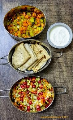 Lunchbox Ideas for day5- A yummy sprouts and pomegranate salad with honey-lime dressing; Phulkas with chowchow sabzi and curd