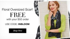 FREE Floral Scarf with Your Online Direct Delivery Order of $50+. Use Code: INBLOOM *Some Exclusions Apply.  Shop PJ's Avon Online at https://www.avon.com/?s=ShopStore&c=repPWP&repid=3195905&tntexp=pwp-b&mboxSession=1462030839495-984491 Ends Midnight 5/02/2016.