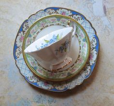 Vintage Mismatched Bone China Set of Three Dessert by MiladyLinden