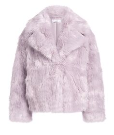 's Grant Short Coat exudes a cozy, luxe aesthetic for the cooler temperatures ahead. Plush faux fur coat features a delicate lavender hue and a notched lapel. Provides a subtle pop of color when paired with winter white. Pastel Shades, Down Coat, Winter White, Pop Fashion, Winter Coat, Color Pop, Faux Fur, Fur Coat, Sweaters