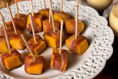 Bacon-Wrapped Squash Bites...               It's true: Bacon makes anything taste better.
