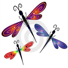 Photo about A clip art illustration of 3 dragonflies with artistic colors and patterns in their wings on a white background. Illustration of clipart, elements, clip - 2807035 Dragonfly Jewelry, Dragonfly Art, Dragonfly Tattoo, Dragonfly Wallpaper, Dragonfly Quotes, Dragonfly Drawing, Dragonfly Clipart, Dragonfly Images, Happy New Year Animation