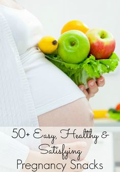 The Ultimate List of Healthy Pregnancy Snacks. 50+ snack ideas for moms to be! Lots of high protein, low carb, and high fiber snacks, plus great ideas for snacking on the go!
