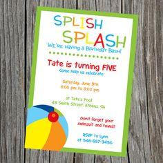 Splish Splash Pool Party Bash Birthday Invitation