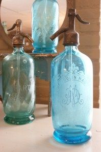 vintage spray bottles, sea glass colors