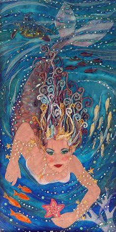 Items similar to NOW SOLD Mermaid Queen textile art applique mounted OOAK on Etsy Mermaid Fairy, Mermaid Tale, Real Mermaids, Mermaids And Mermen, Fantasy Mermaids, Art Textile, Illustration, Paperclay, Merfolk