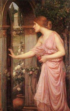 """John william waterhouse """"psyche opening the door into cupids garden"""" 1904"""