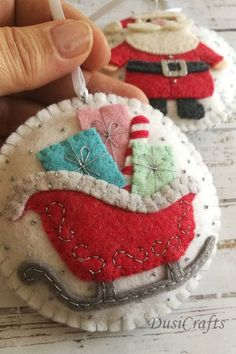 Set of 2 Felt Father Christmas and Sleigh ornaments, Red tree decoration, Xmas ornaments, Christmas decor / LIMITED Felt ornaments Handmade Christmas Decorations, Christmas Ornament Crafts, Felt Decorations, Christmas Sewing, Father Christmas, Felt Ornaments, Holiday Crafts, Etsy Christmas, Beaded Ornaments