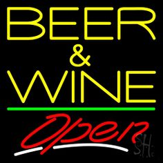 Yellow Beer And Wine With Bottle Red Open Neon Sign 24 Tall x 24 Wide x 3 Deep, is 100% Handcrafted with Real Glass Tube Neon Sign. !!! Made in USA !!!  Colors on the sign are Red, White and Yellow. Yellow Beer And Wine With Bottle Red Open Neon Sign is high impact, eye catching, real glass tube neon sign. This characteristic glow can attract customers like nothing else, virtually burning your identity into the minds of potential and future customers.