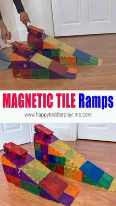 Create your own ramp using magnetic tiles with this easy and fun STEM activity perfect for preschoolers, kindergartners and older kids. Rainy Day Activities For Kids, Rainy Day Fun, Activities For Adults, Toddler Learning Activities, Infant Activities, Preschool Activities, Kids Learning, Transportation Activities For Preschoolers, Things To Do With Kids On A Rainy Day