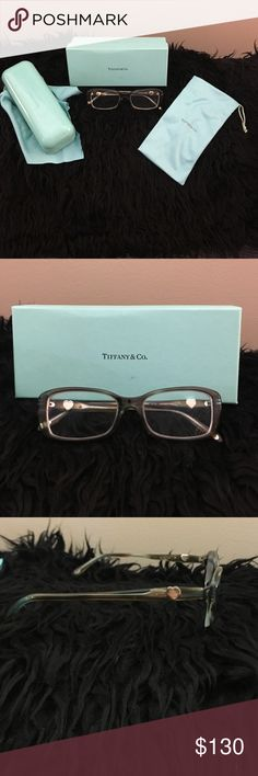 c92229ff6521 Tiffany prescription frames Tiffany   Co. used prescription frames in  gray teal. In great condition just need new lenses. Comes with all the  original boxes ...