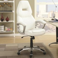 The chair has a modern feel with its shape and silver base, wrapped with a soft quilted leatherette for supreme comfort and style. A pneumatic seat height adjustment lever allows for individualized comfort to easily conform to your desk or workstation.