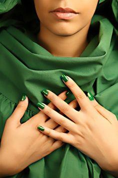 Green nails & dress...