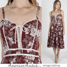 vtg 70s Gunne Sax Dress Burgundy Floral Lace Boho Wedding Hippie Party Midi Mini #GunneSax #Mini #Casual