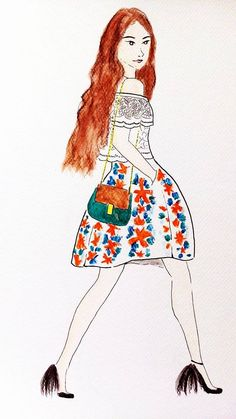 From blog fashionfraction.com an amazing blogger Michele. #bloggerdrawing #luciedraws
