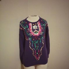Vintage 80's Christine Gerard sweater Beautifully sequined vintage purple 1980's pop art  Christine Gerard sweater with removable shoulder pads. Size large. Sweaters Crew & Scoop Necks