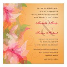 """Tropical Tangerine & Fuschia Wedding Invitations 5.25"""" Square Invitation Card"""