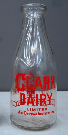 1930 Clark Dairy 1 qt milk bottle made by Dominion Glass #vintage