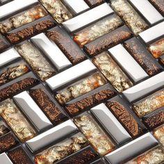 Strip Glass Mosaic Tile Pattern Silver Stainless Steel Metal Coating Tiles Bath & Shower Liner Walls
