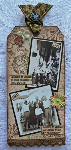 A VINTAGE HEART: Kard Krazy's Tuesday Challenge-Scrapbook Tag. Really like the idea of using a tag as a mini scrapbook page.
