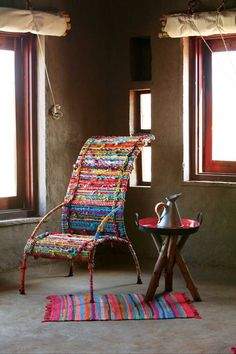 Colorful Chair & Rug by Sahil Sarthak Design Funky Furniture, Painted Furniture, Deco Design, Home And Deco, Cool Chairs, Handmade Rugs, Bohemian Decor, Decoration, Upholstery