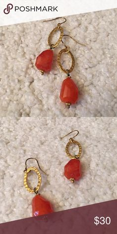 One of a kind bead earrings Beautiful handmade beaded coral earrings. Not Banana Republic just used for visibility. Banana Republic Jewelry Earrings