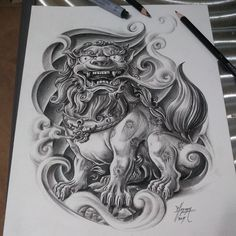 Asian Tattoos, Black Ink Tattoos, Dog Tattoos, Body Art Tattoos, Sleeve Tattoos, Foo Dog Tattoo Design, Design Your Own Tattoo, Japanese Tattoo Designs, Japanese Tattoo Art