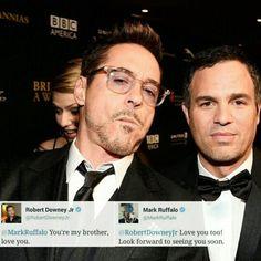 """This is real friendship! Aww i love them both! #robertdowneyjr #markruffalo #friendship #sciencebro"""