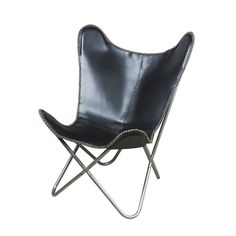 Black Leather Butterfly Chair Dining Room Furniture Modern Style Seat Arm Back Rocking Chair Nursery, Swinging Chair, Wingback Accent Chair, Accent Chairs, Swivel Chair, Leather Butterfly Chair, Mission Chair, Black Leather Chair, White Leather