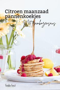 Citroen maanzaad pannenkoekjes met frambozensaus Brownies, Cereal, Cheesecake, Breakfast, Food, Vanilla, Cheesecake Cake, Breakfast Cafe, Cheesecakes