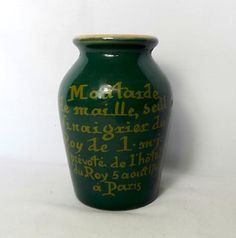 French vintage Maille mustard pot in deep green by MaisonMaudie, $20.00
