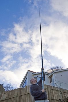 Carp Pole Photography  The pole, 11m long, is made of carbon fibre. It's very stiff but also very light, weighing just over 2 pounds. Up at the top, about 40 feet above the ground, is a Pentax s5i camera, weighing just over 5 ounces, triggered by a Tucit Duo