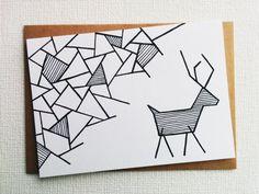Christmas card - Card - Kerstkaart - Happy new year card - Card christmas - Holiday card - Christmas reindeer - Reindeer - xmas - Handdrawn