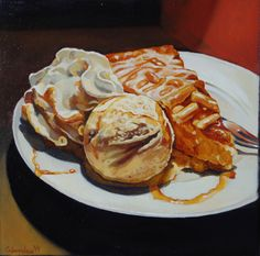 Still life with apple pie, 30x30 cm