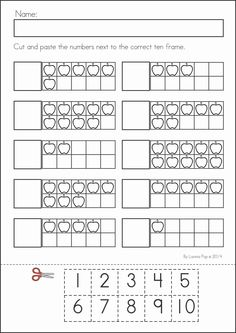 Kindergarten Back to School Math & Literacy Worksheets and Activities. 135 pages. A page from the unit: ten frame match (cut and paste).