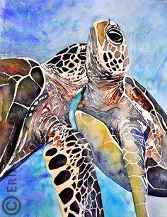 Sea Turtles 15.5x22 Original Watercolor by ErinKrauseArt on Etsy, $450.00